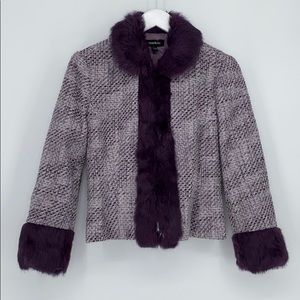 BEBE Lavender Tweed Jacket with Rabbit Fur Trim